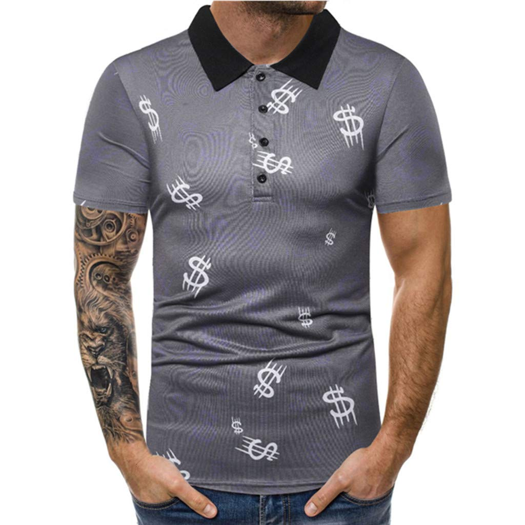 Mens T Shirt Mens Solid Top Button Turn-Down Collar Splice Casual Sport Lapel Short Sleeve Shirt Slim