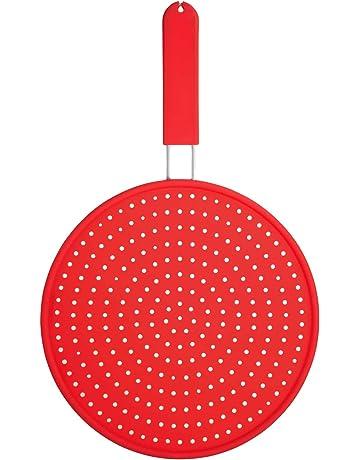 Colourworks - Tapa antisalpicaduras de silicona, color rojo
