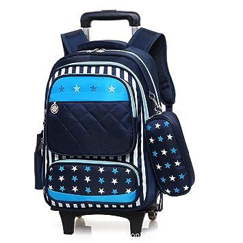 46b61fec9858f HCC  Wasserdicht Rollbarer Rucksack Entfernbar Jungen Mädchen Nylon  Schulrucksack   Trolley Schulranzen mit Rädern