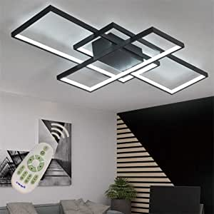 LED Modern Ceiling Light Flush Mount Square Living Room Lamp Dimmable with Remote Control Acrylic-Shade Chandelier Pendant for Dining Room Bedroom Bathroom Kitchen Fixture,Black