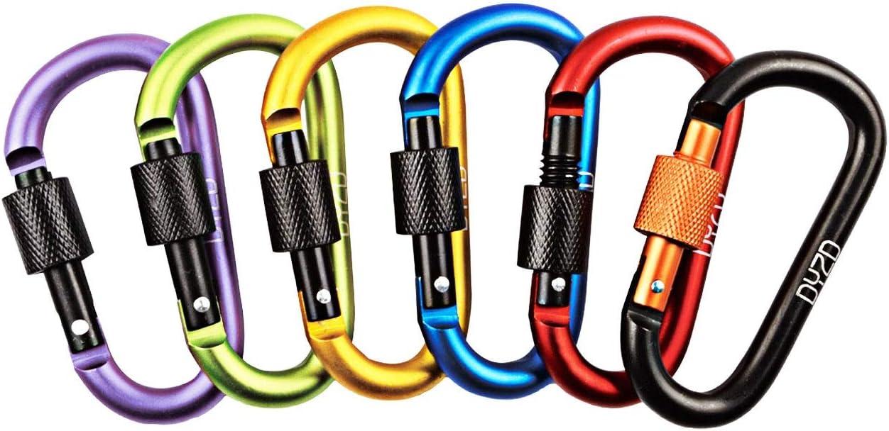 10PCS Aluminum Carabiner D-Ring Key Chain Clip Snap Hook Camping Keychain Lldty