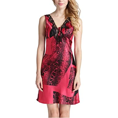 Dünne Rote Dame Lace V-Ausschnitt Leopard Print Rock Pyjamas Slings ...