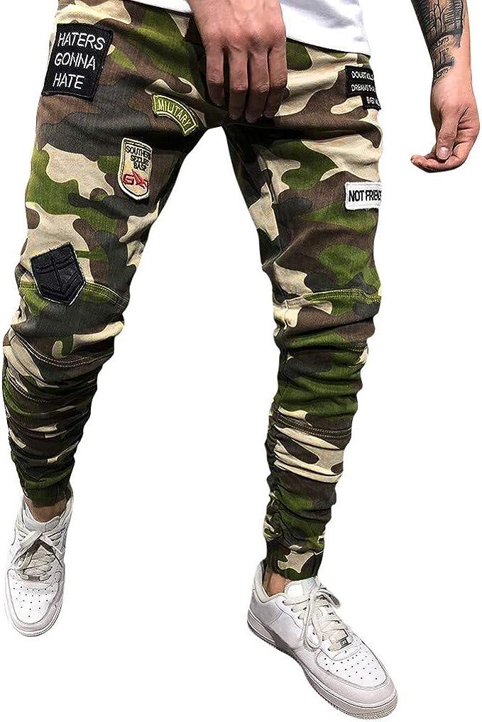 MXJEEIO Pantalones Casuales de Camuflaje Deporte Jogging ...