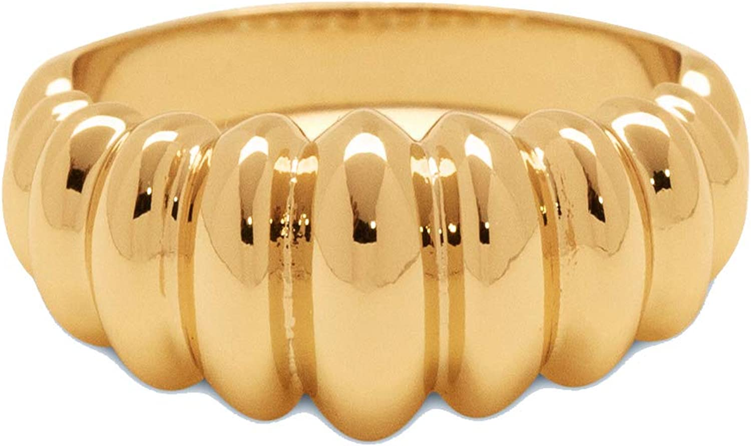 Thick Gold Vintage Style Ring Size 7 Gold Plated Statement Ring
