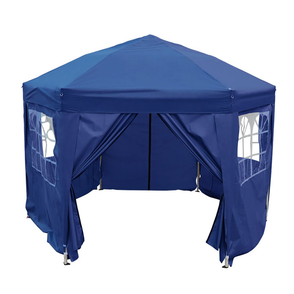 F Fellie Cover Heavy Duty Pop Up Gazebo 3.5m Waterproof Garden Camping Club Tent with Sides Blue