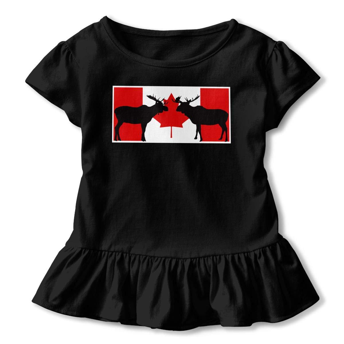 Short-Sleeve Moose Silhouette On Canadian Flag Shirts for Kids 2-6T Ruffled Tunic Shirt Dress with Falbala