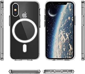 Ambar Magnetic Clear Case Designed for iPhone X/XS – Compatible with MagSafe Charger, Support Magnetic Car Mount Wireless Charging, Soft Press Buttons, Scratch Resistant