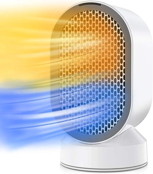 Portátil Calefactor Eléctrico, QUARED Mini Calentador de Ventilador, Personal Ventilador Calefa...