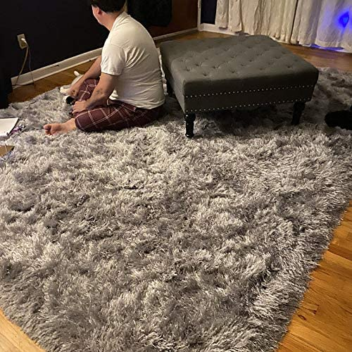 8×10 Feet Silver Light Gray Light Grey Color Decorative Designer Modern Contemporary Solid Pattern Area Rug Carpet Rug Bedroom Living Room Indoor Shag Shaggy Shimmer Plush Pile Large