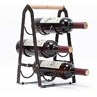 KK KINGRACK Kingrack Wine Rack 6 Bottles, Foldable Wine Bottles Holder Racks, Metal Copper Wine Holder Storage Free…