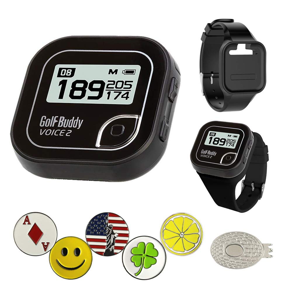 Golf Buddy Voice 2 Golf GPS/Rangefinder Bundle with Wrist Band, 5 Ball Markers and 1 Magnetic Hat Clip by AMBA7
