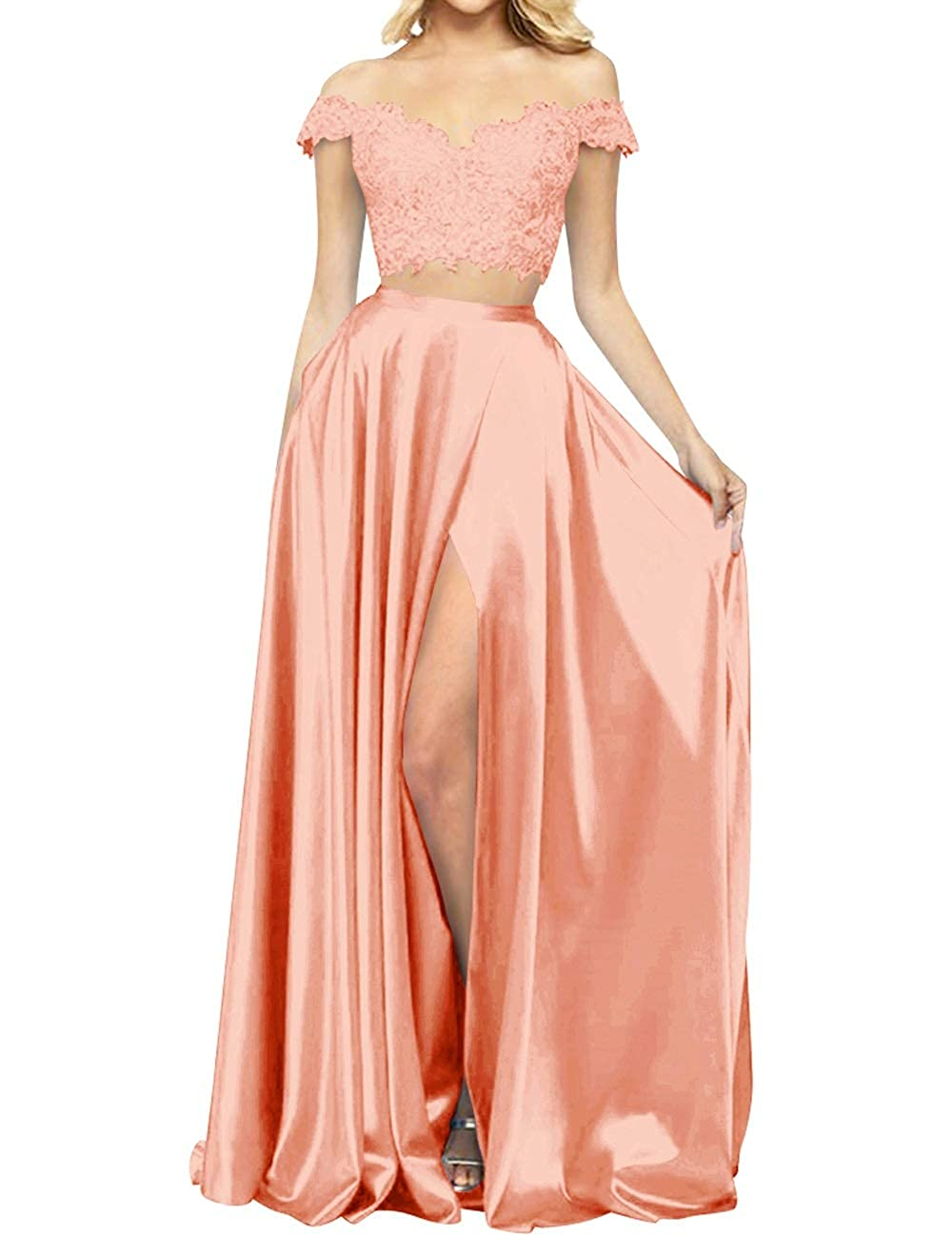 Peach MorySong Women's 2 Piece Lace Satin High Split Off The Shoulder Prom Evening Dress