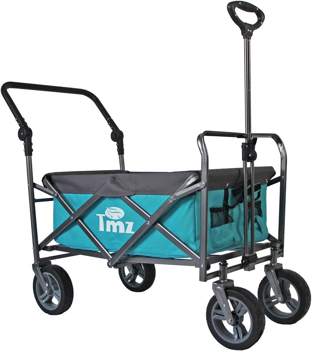 TMZ Utility Folding Wagon, Collapsible Garden Cart, Folding Trolley Cart, for Shopping, Camping, and Outdoor Activities with a Push Handle(Turquoise/Grey)