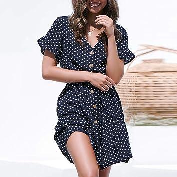 Wave166 Verano Mujer Impresión Mini Vestidos de Playa Elegante ...