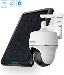 Wireless Pan Tilt Solar Powered WiFi Security Camera System with Rechargeable Battery Outdoor Home Surveillance, 2-Way Audio, Wire-Free Support Google Assistant/Cloud/Local SD, Argus PT w/Solar Panel