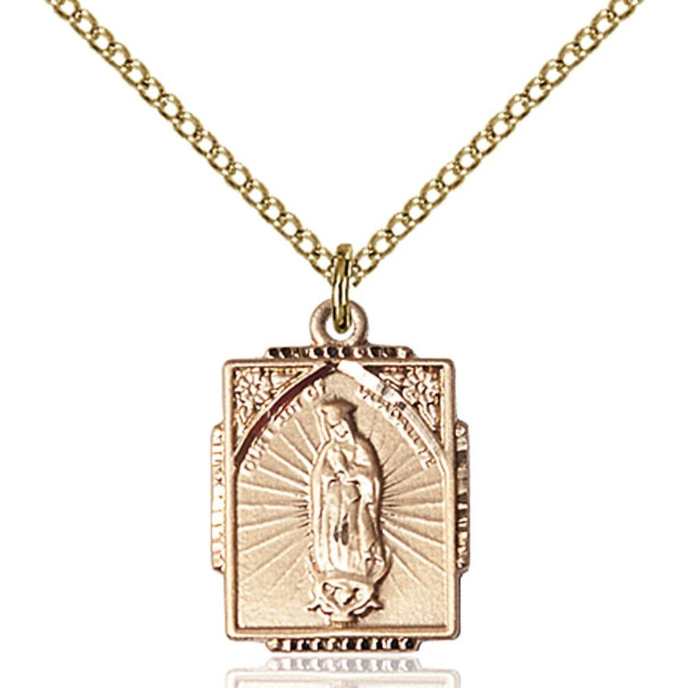 Gold Filled Our Lady of Guadalupe Pendant 5/8 X 1/2 inches with 18 inch Gold Filled Curb Chain