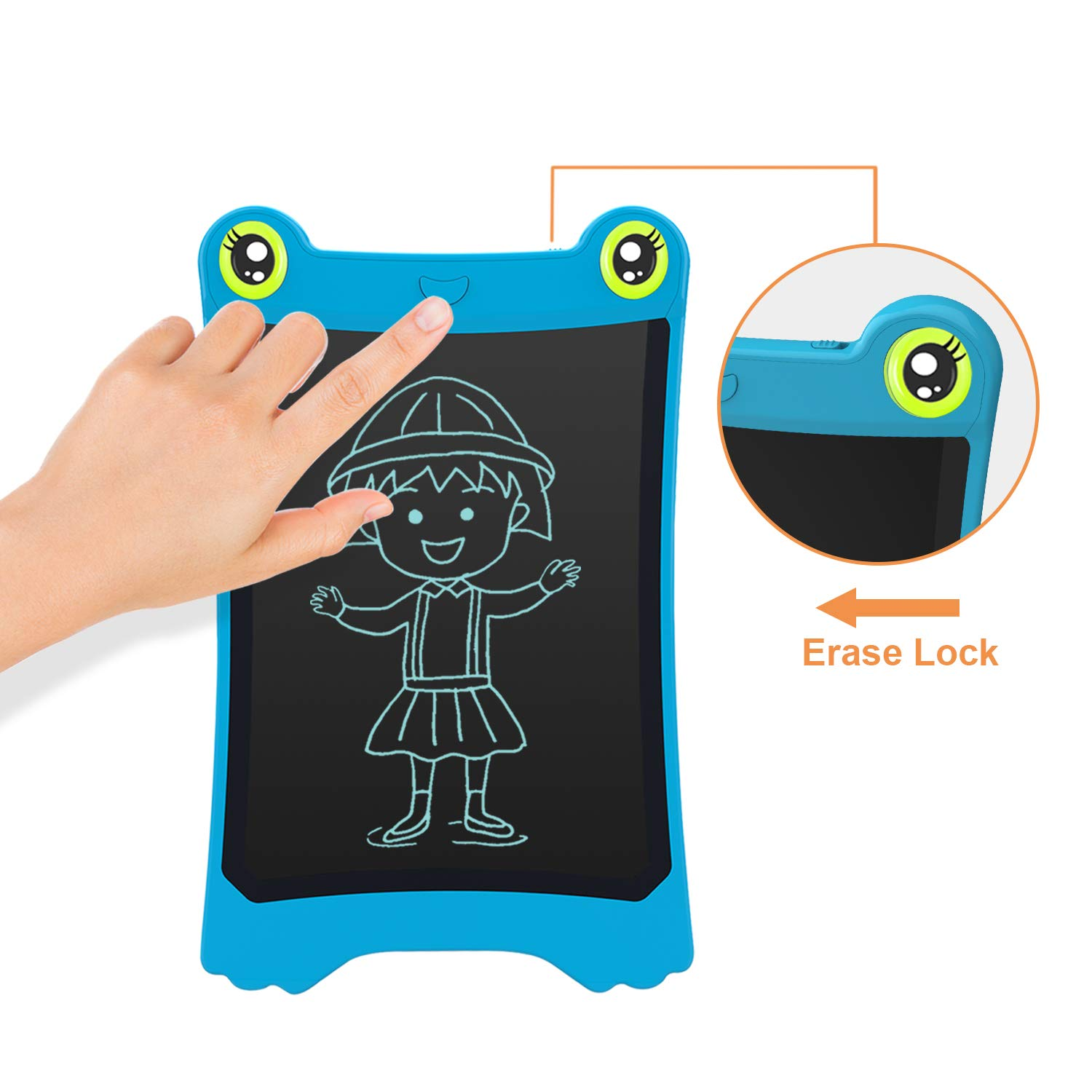 NEWYES 8.5 Inch LCD Writing Tablet Updated Frog Pad Children Electronic Doodle Board Jot Digital E-Writer Kids Scribble Toy with Lock Function Blue by NEWYES (Image #5)