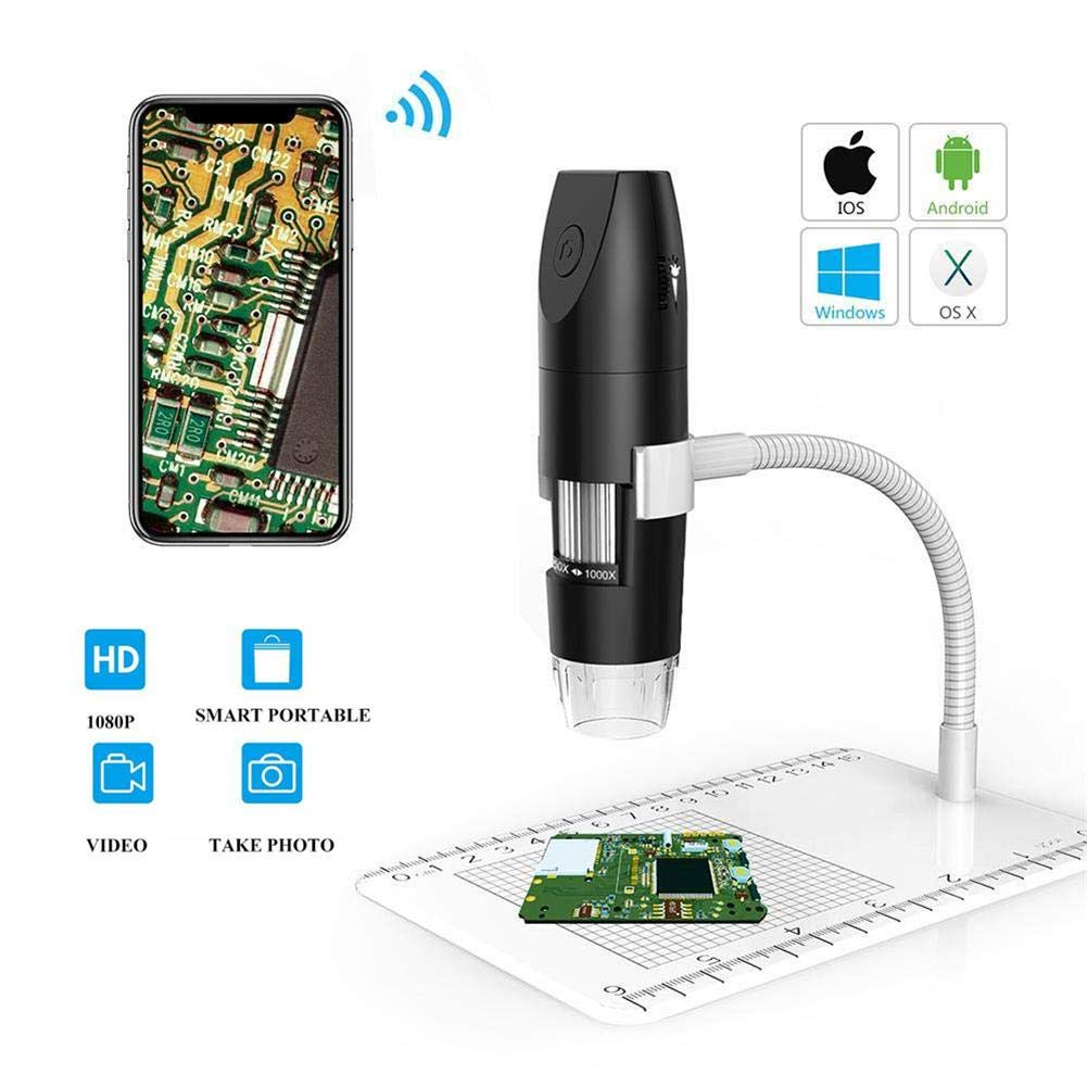 Windows iOS MAC for Android Wireless Digital Microscope 50 to 1000x Magnification,2MP HD WiFi USB Electronic Microscope,8 LED HD 1080P 2MP Camera and Metal Stand