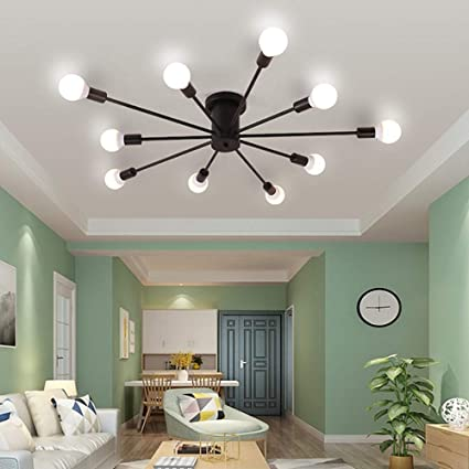 Ladiqi 10 Lights Modern Flush Mount Ceiling Light Industrial Vintage