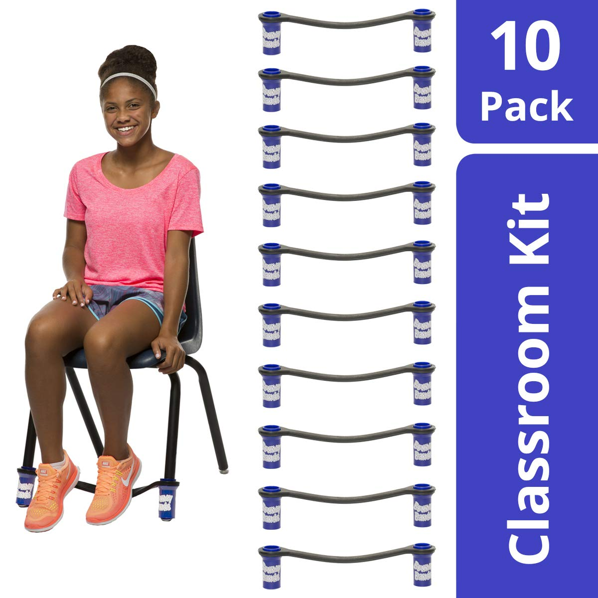 Original Bouncy Bands for Middle School and High School Chairs (Blue, Pack of 10), Educational Tool That Helps Kids Actively Learn and Stay Engaged