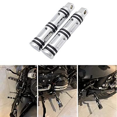 Goldfire 1 Pair Motorcycle Foot Pegs CNC Cut Front & Rear Foot Pegs Foot Rests Compatibility For Harley (Silver): Automotive