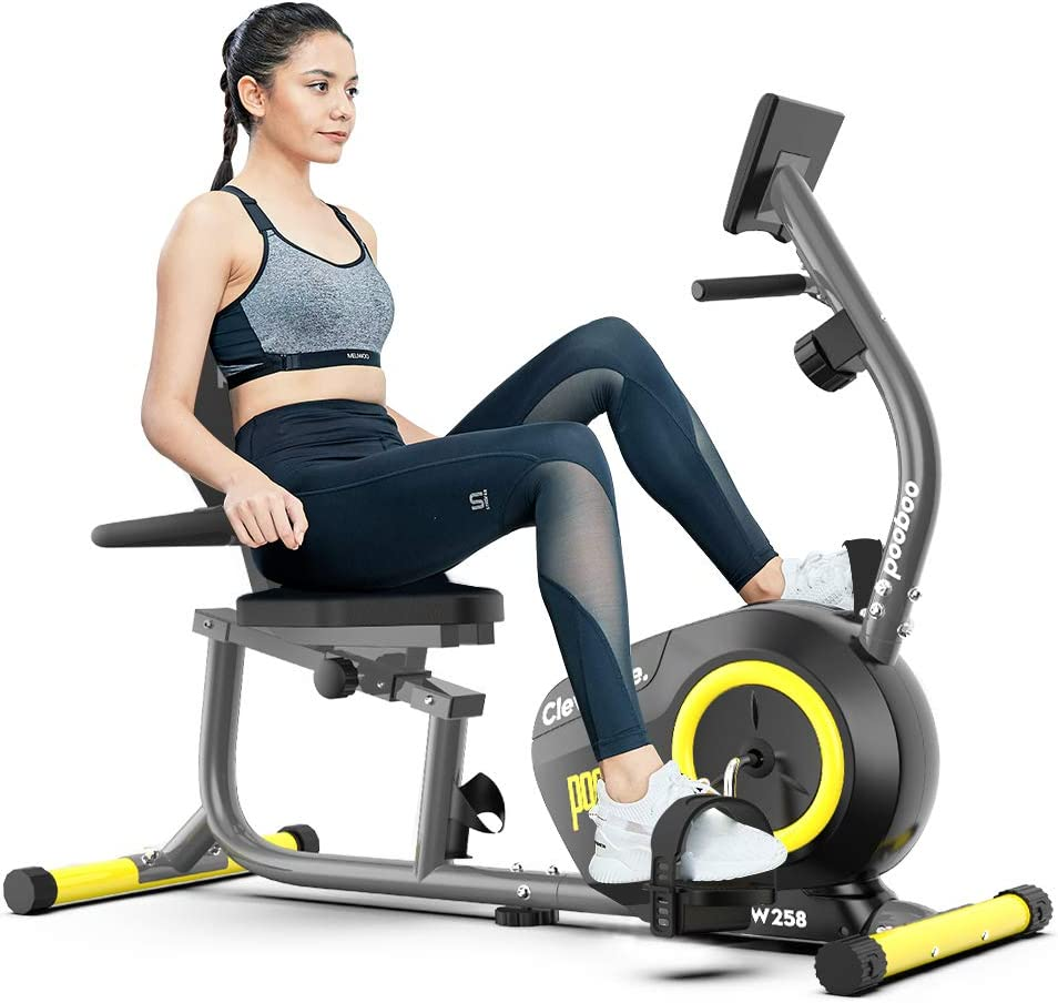 pooboo Magnetic Recumbent Bike Indoor Cycling Bike Stationary Exercise Bike with Pulse Monitor and Adjustable Seat