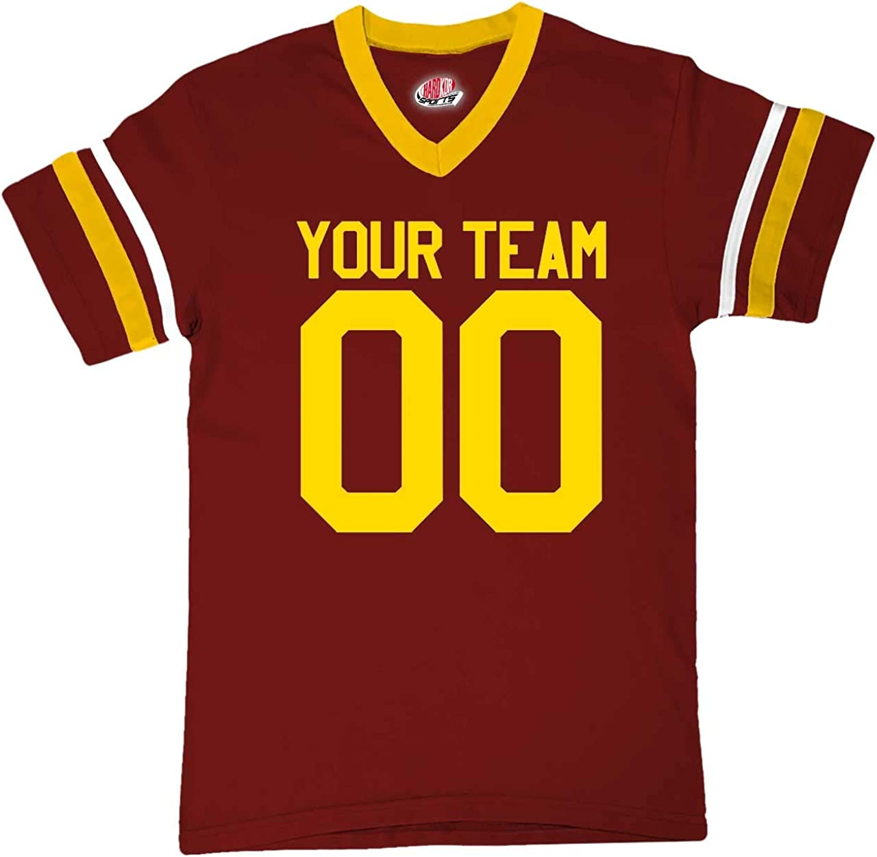 Custom Maroon and Gold Casual Football Fan Jersey Personalized Team Name and Your Numbers
