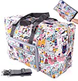 Womens Foldable Travel Duffel Bag 50L Large Cute Floral Travel Bag Hospital Bag Weekender Overnight Carry On Bag Checked Luggage Tote Bag For Girls Kids (castle)