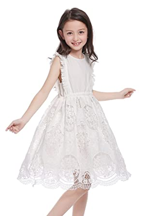 947351a62 CVERRE Vintage Eyelet Ruffle Flutter Sleeve White Lace Girl Dress 2-7 (100)
