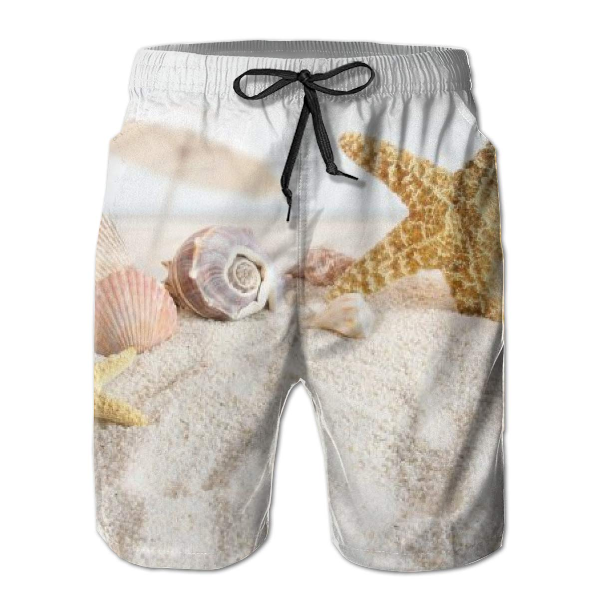 FASUWAVE Mens Swim Trunks Starfish Beach Theme Quick Dry Beach Board Shorts with Mesh Lining