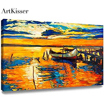 ArtKisser Oil Painting Sunset On Canvas Paintings For Living Room Framed  Boats On Sea 16