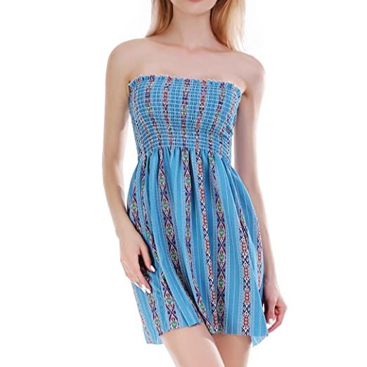 Minisoya Summer Women Casual Boho Floral Off Shoulder Strapless Tube Dress  Evening Party Mini Dress Beach