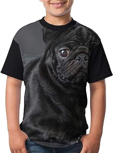 Camiseta clásica Camiseta Pug Negra para niños Adolescentes Camiseta Divertida: Amazon.es: Ropa y accesorios