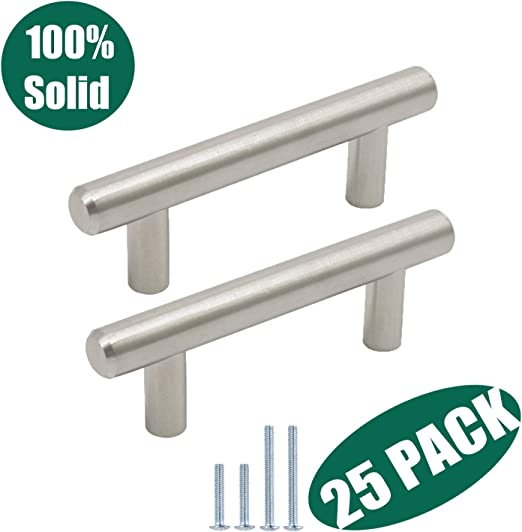 Home Garden 25x Euro Style 3 Brushed Nickel Solid Kitchen Cabinet Door Drawer Handle Pull Cabinets Cabinet Hardware
