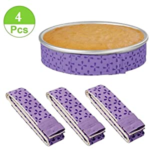 4-Piece Bake Even Strip,Cake Pan Dampen Strips,Super Absorbent Thick Cotton,Cake Strips for Baking,Cake Pan Strips
