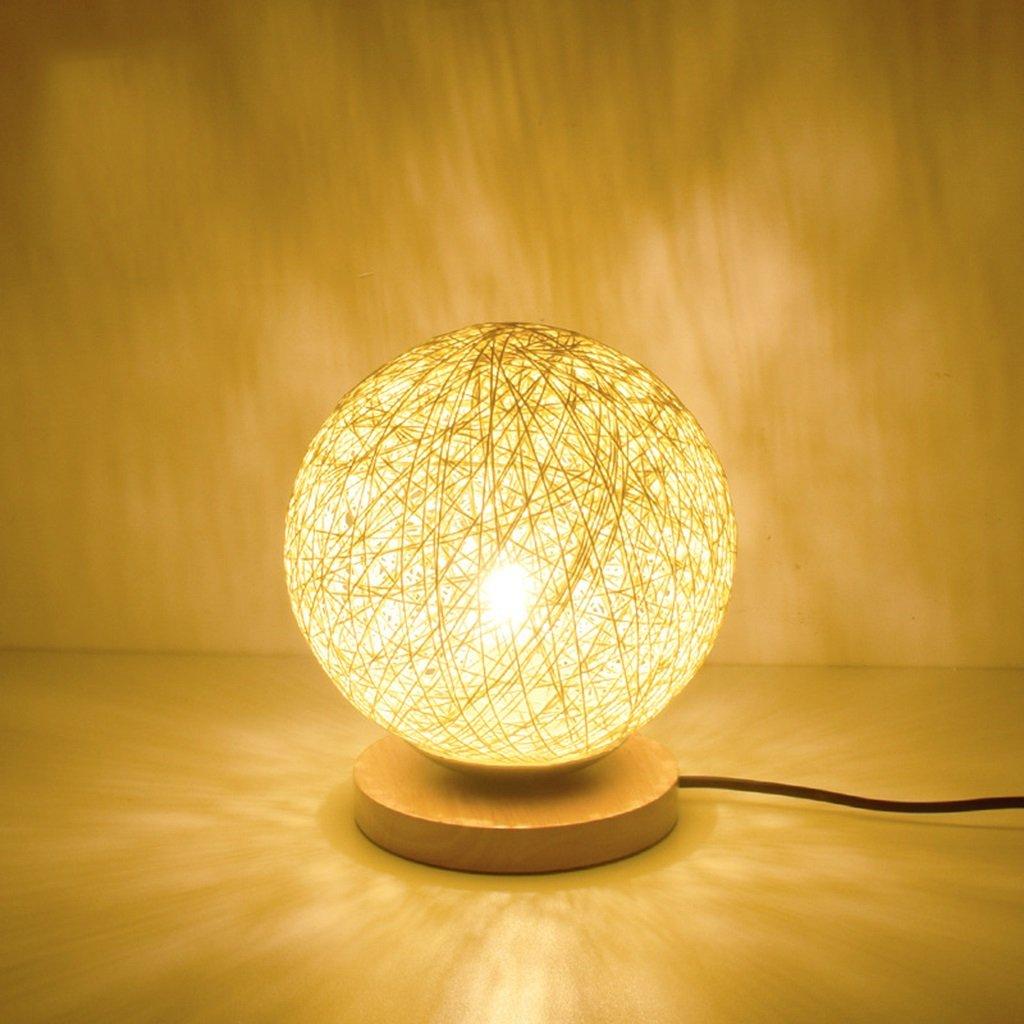 &Leselicht Holztischlampe, Schlafzimmer Nachttischlampe, einfache Runde Holzdekoration Nachtlicht, ( Farbe   Button (without bulb) )