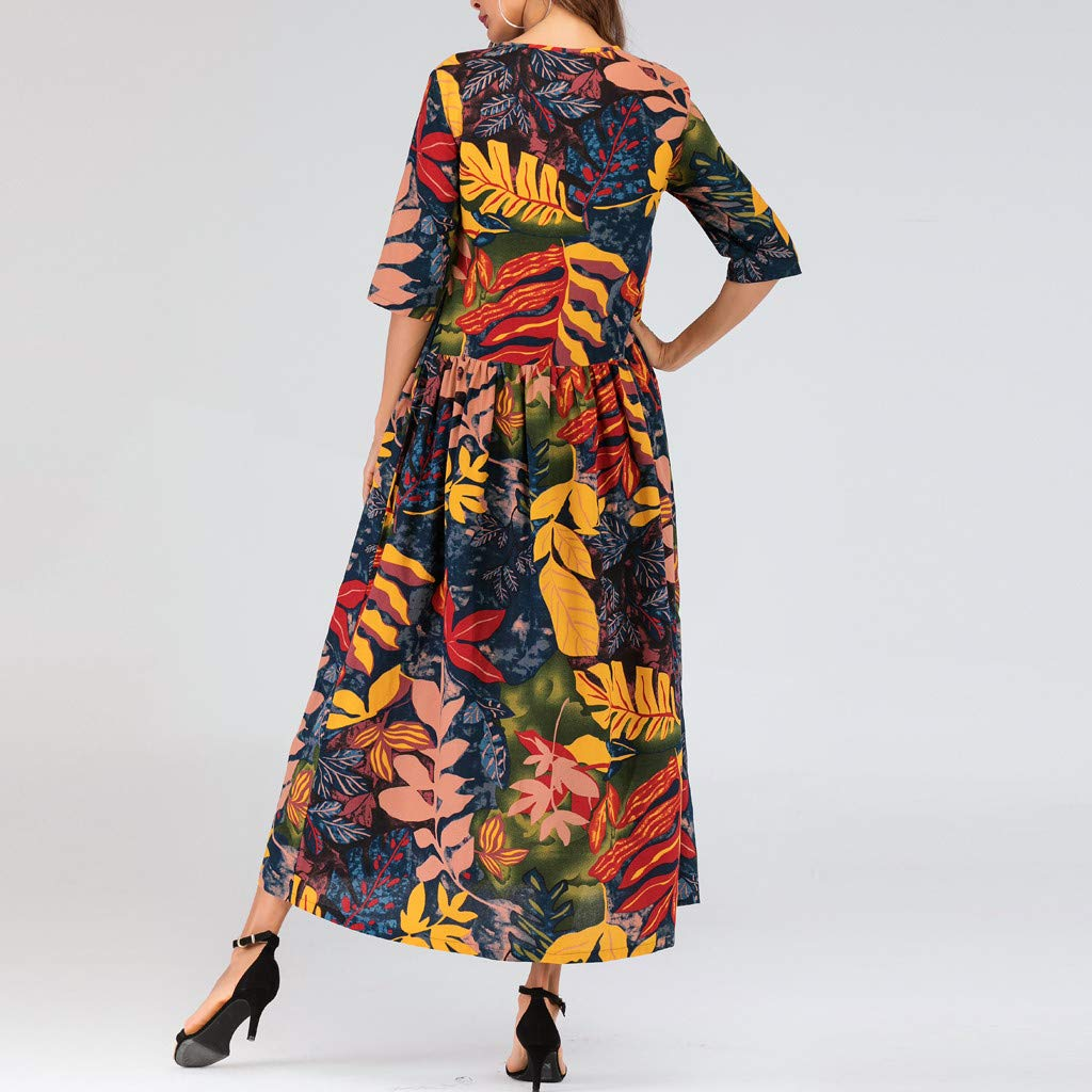 Onegirl Women's Summer Casual Loose Maxi Dress Plus Size Half Sleeve Folk-Custom Leaves Print Thin Cotton Long Dress Yellow by Onegirl-dress (Image #1)