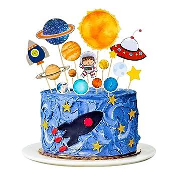 MMTX Toppers para Tartas Decoraciones Cumpleaños Niño de Pastel de Espacio Astronauta Ideal para Happy Birthday Cumpleaños Niños Party