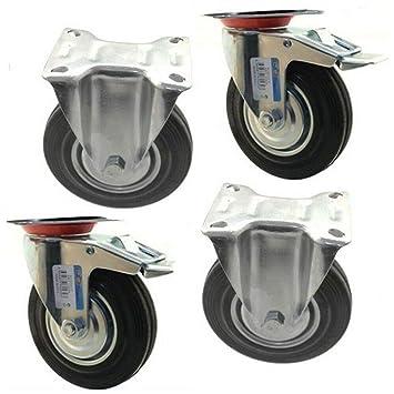 4 Ruedas de goma repuesto 2 giratorias 2 fijas carro – rueda con soporte juego de