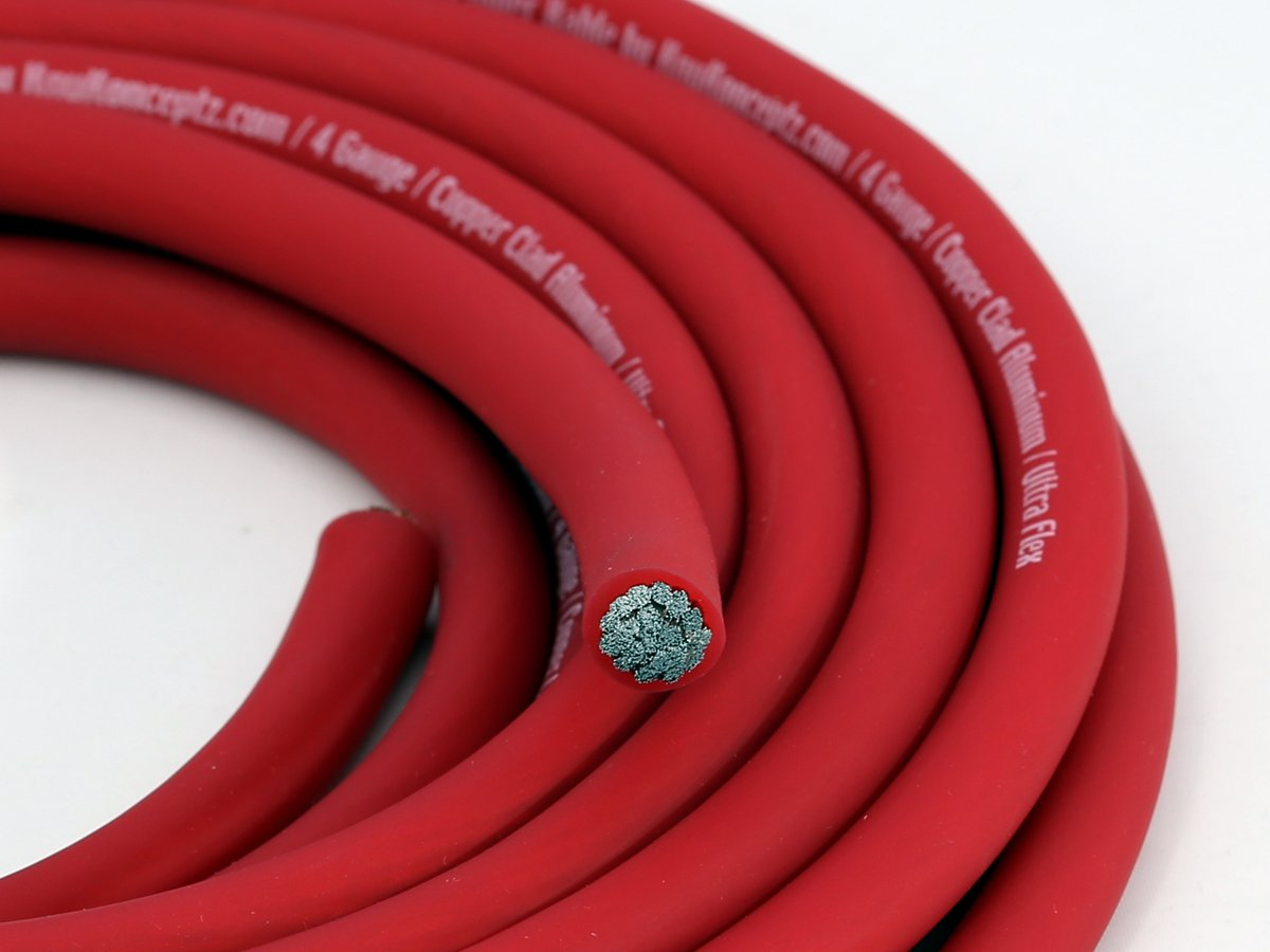 KnuKonceptz KCA 4 Gauge Red Ultra Flex CCA Power Wire Cable 20 Feet KCA4R-20