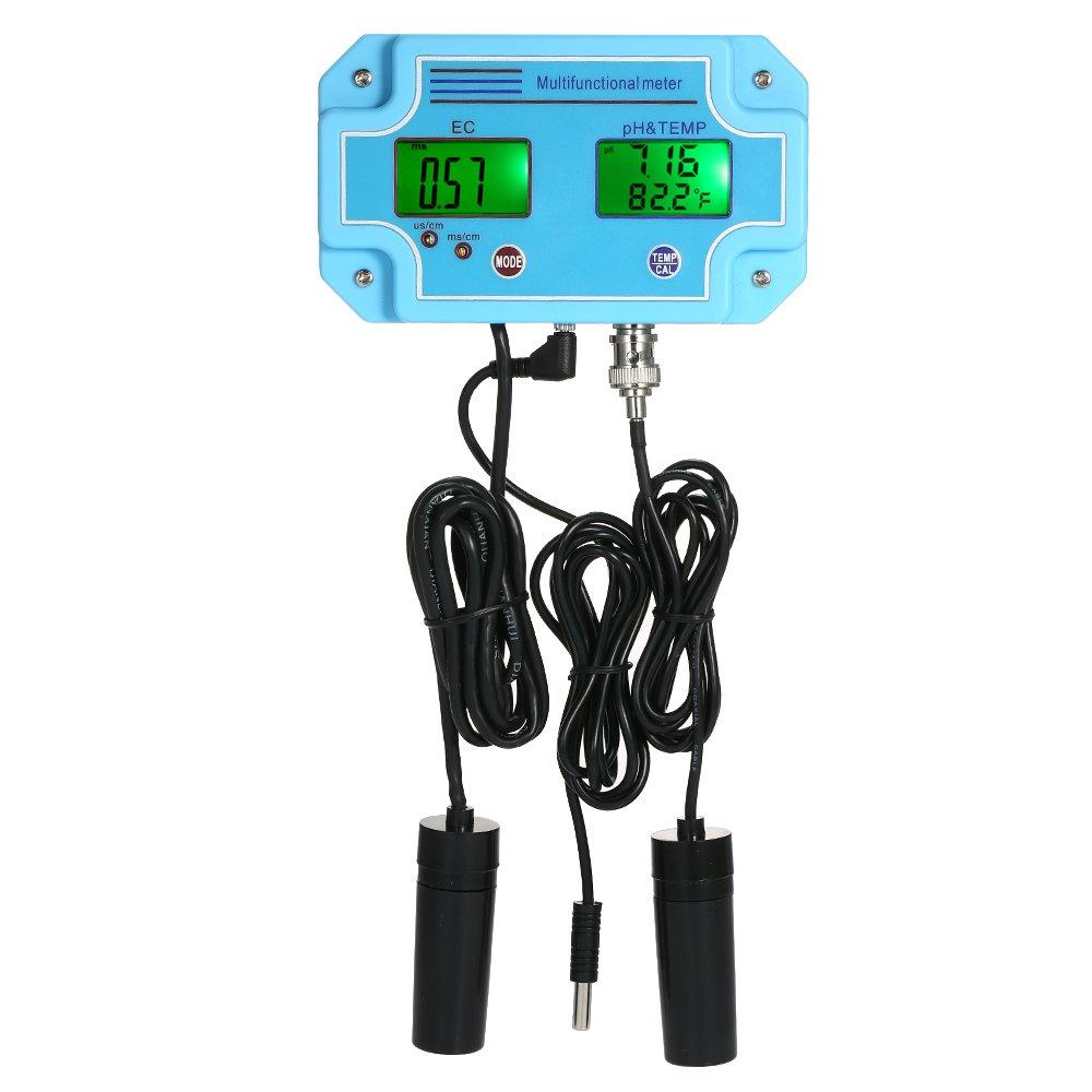 Walmeck Professional 3 in 1 pH/EC/TEMP Meter Water Detector Multi-parameter Digital LCD Tri-Meter Multi-function Water Quality Monitor Multiparameter Water Quality Tester