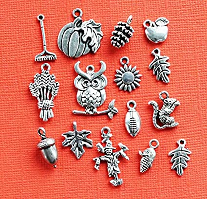 Fall Charm Collection Antique Silver Tone 15 Charms COL322