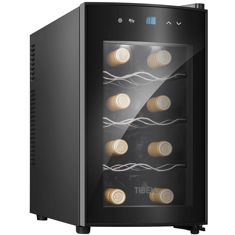 TIBEK Cave à vin assez 8 bouteilles Réfrigérée 25L avec Éclairage intérieur LED, 8-18°C commande température panneau de écran tactile, économie d'énergie classe A