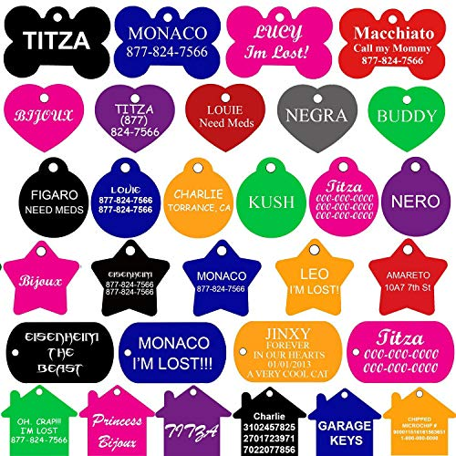CNATTAGS Pet ID Tags Many Shape, 8 Colors, Personalized Front and Back Premium Aluminum for Dogs and Cats ()