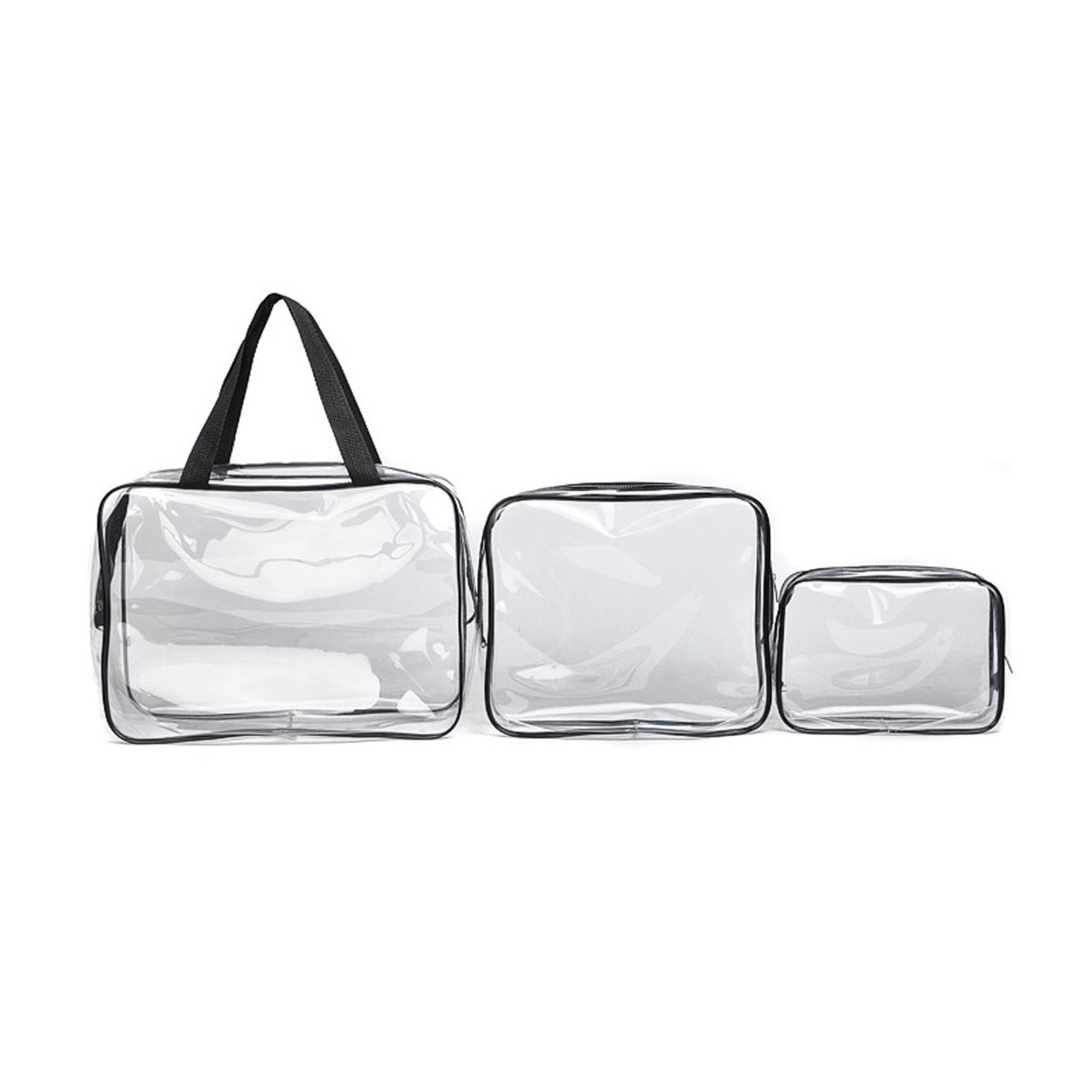 TECHSON 3 Pack Crystal Clear Makeup Bags, Travel Portable Cosmetic Bag Set, Waterproof Transparent Toiletry Organizer Storage Bags with Handle Straps and Zippers (PVC)