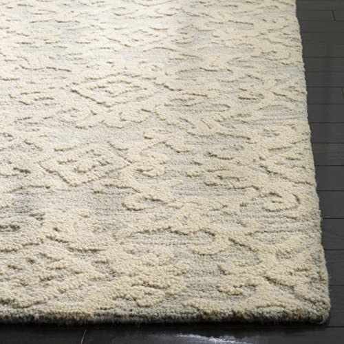 Safavieh Blossom Collection BLM104A Grey and Ivory Floral Vines Premium Wool Area Rug 8 x 10