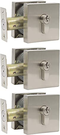 3 Pack Probrico Square Deadbolts Satin Nickel Single Cylinder Keyed Alike Locks for Interior and Exterior