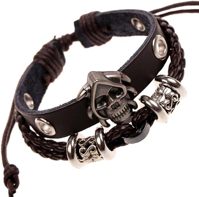 Punk Rock Alloy Buckle Cuff Bracelet 8.5 Black Silver SumBonum Jewelry Mens Womens Leather Braided Rope Bracelet