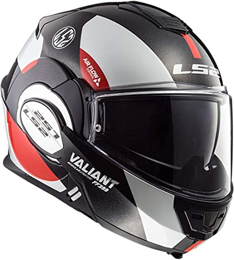 LS2 Caschi moto VALIANT AVANT Bianco Nero Rosso