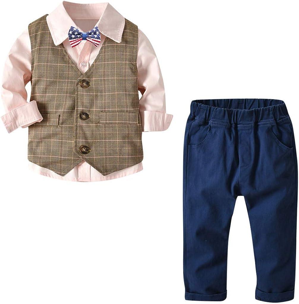 4Pcs Toddler Baby Boy Clothes Bowtie Gentleman Shirt Sweater Vest Pants Outfits